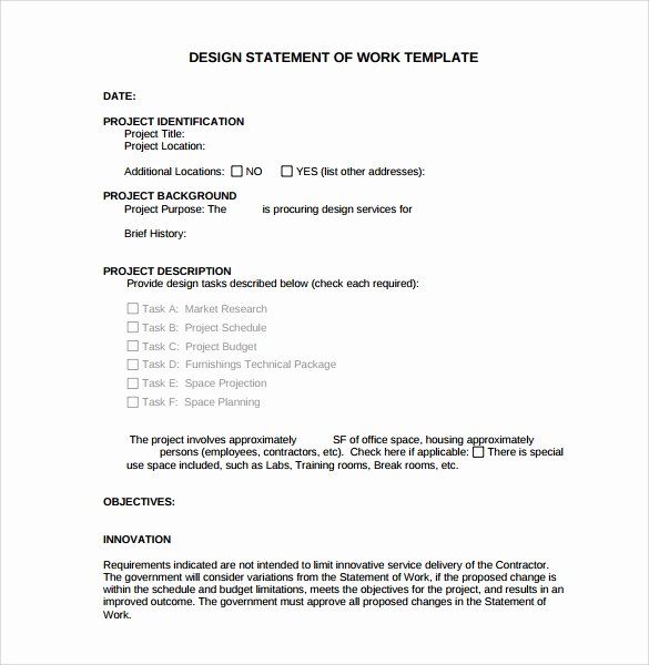 Statement Of Work Sample Fresh Free 13 Statement Of Work Templates In Google Docs