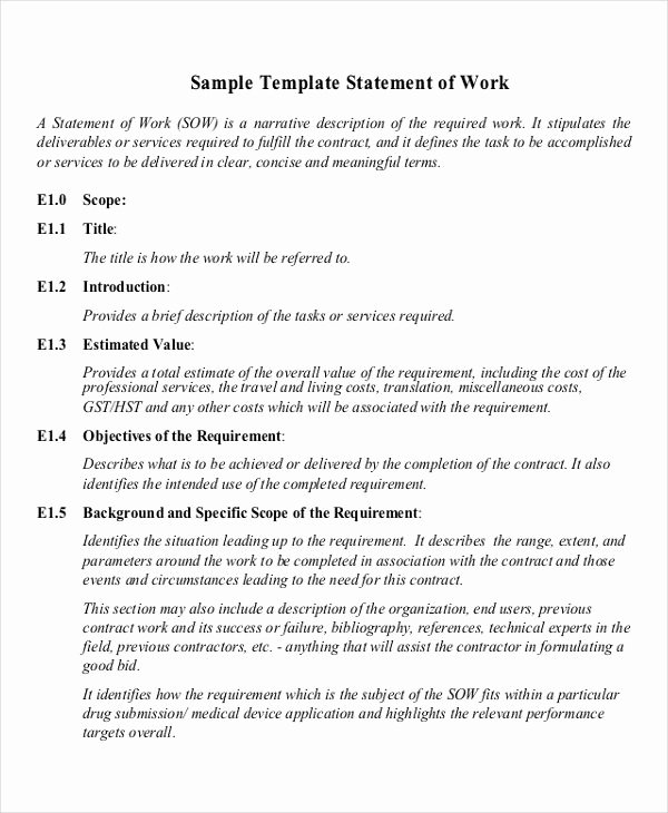 Statement Of Work Sample Fresh Free 20 Statement Of Work Examples & Samples In Pdf