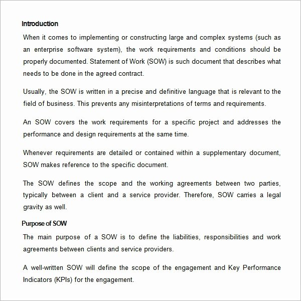 Statement Of Work Sample Lovely Free 13 Statement Of Work Templates In Google Docs