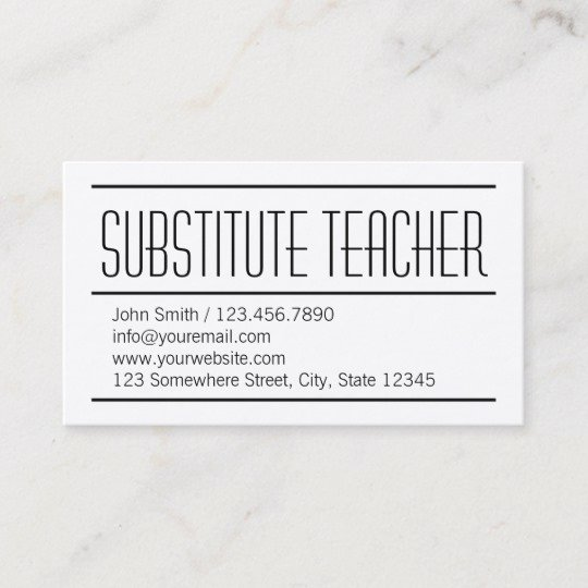 Substitute Teacher Business Cards Beautiful Modern Simple Substitute Teacher Business Card