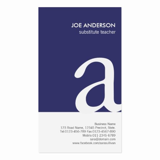 substitute teacher bold monogram business card