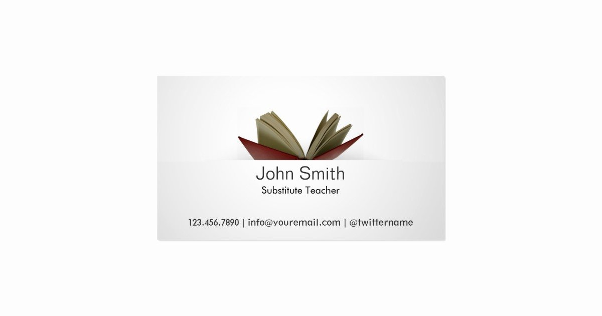 Substitute Teacher Business Cards Beautiful Subtle Open Book Substitute Teacher Business Card
