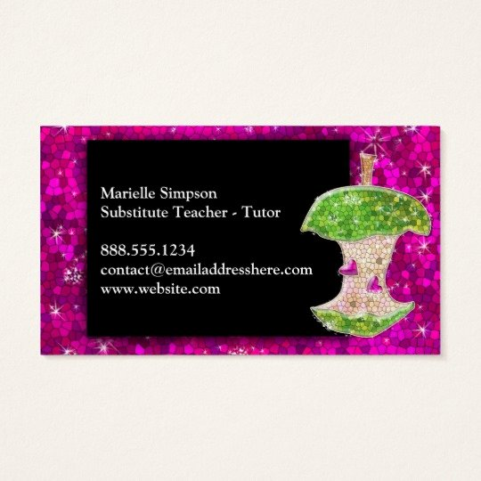 Substitute Teacher Business Cards Best Of Hot Pink Glitter Apple Substitute Teacher Tutor Business