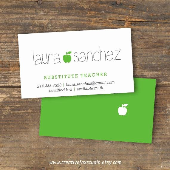 Substitute Teacher Business Cards Best Of Substitute Business Card Applelicious Apple by