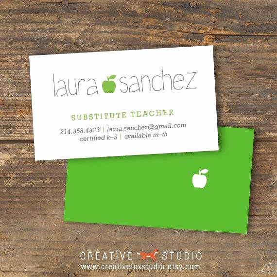 Substitute Teacher Business Cards Inspirational Substitute Business Card Applelicious Apple by