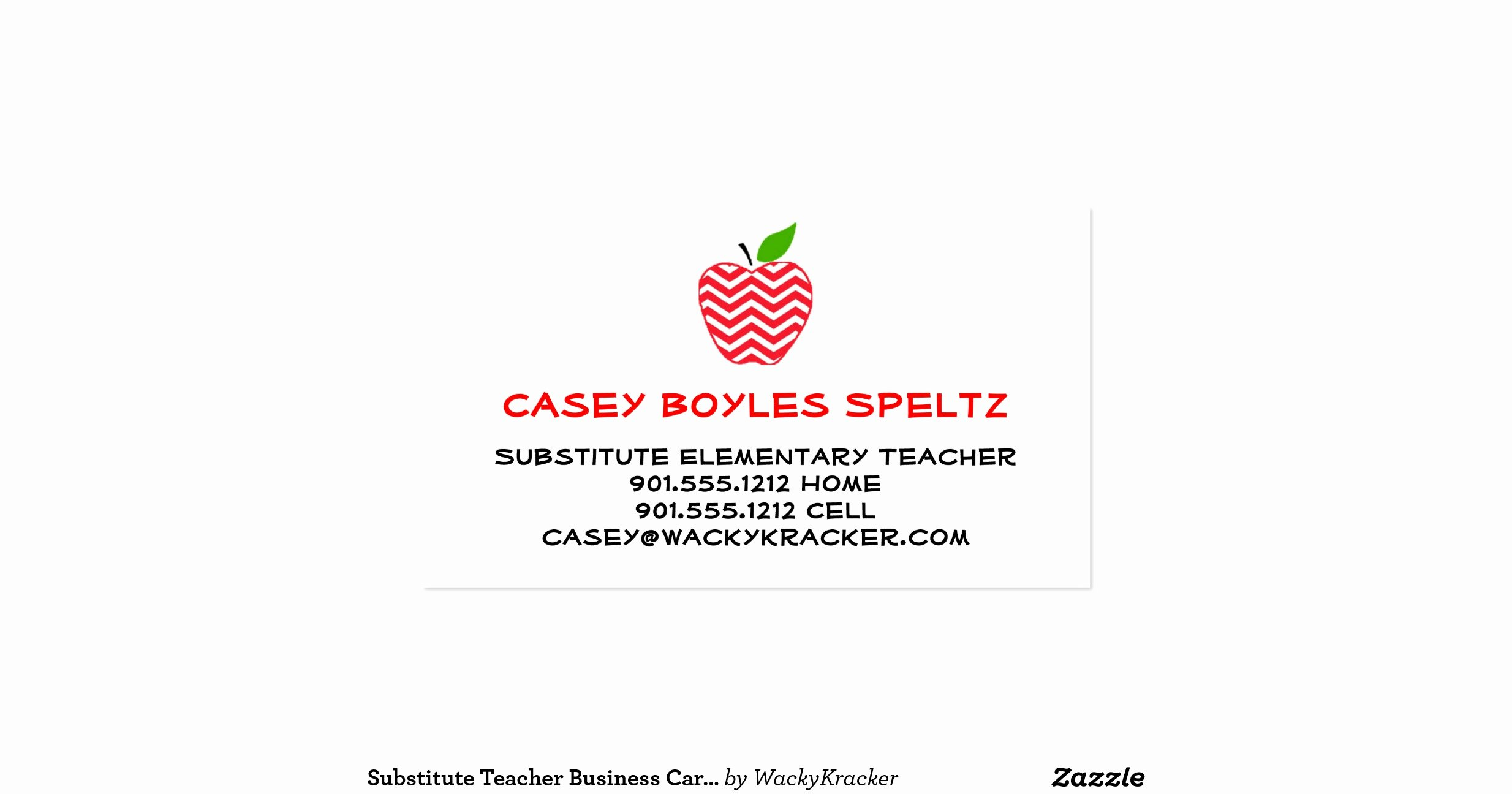 Substitute Teacher Business Cards Inspirational Substitute Teacher Business Cards