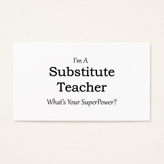Substitute Teacher Business Cards Lovely Substitute Teacher Business Card