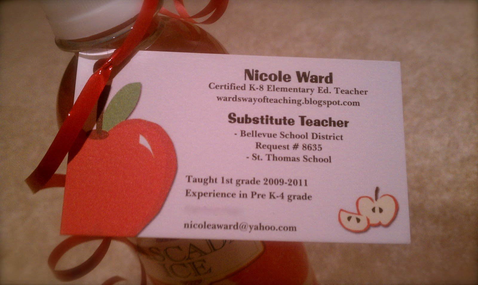 "Substitute Teacher Business Cards Lovely Wards Way Of Teaching E ""spook""tober Post"