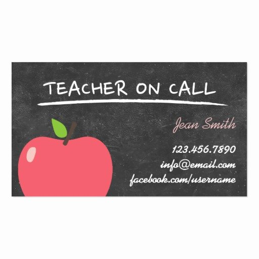 Substitute Teacher Business Cards Luxury Teacher On Call Cute Apple Chalkboard Business Card