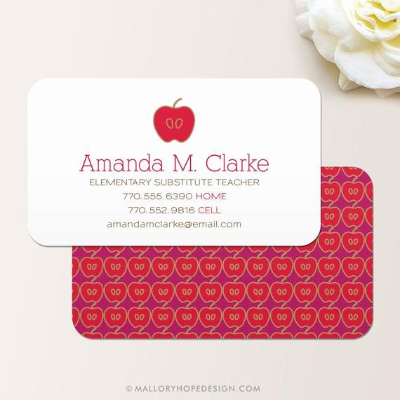 Substitute Teacher Business Cards New Teacher Business Card Calling Card Mommy Card Contact