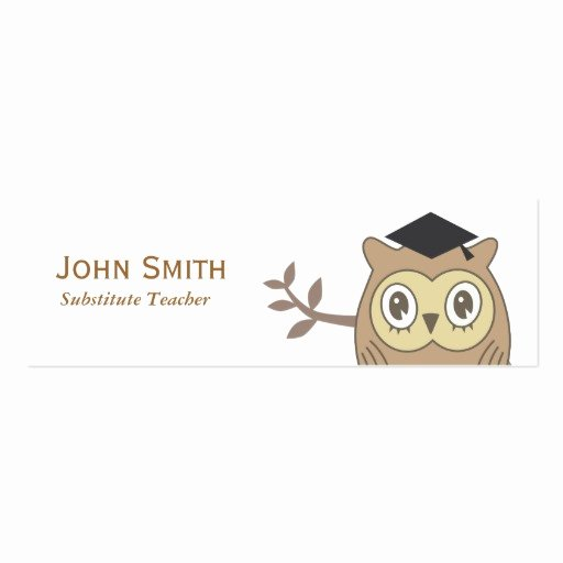 Substitute Teacher Business Cards Unique Dr Owl Substitute Teacher Mini Business Card