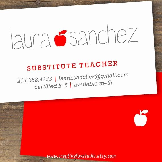 Substitute Teacher Business Cards Unique Teacher or Substitute Business Card Applelicious Tutor