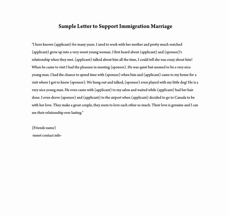 Support Letter Sample for Immigration Awesome Reference Letter to Support Immigration Marriage Samples