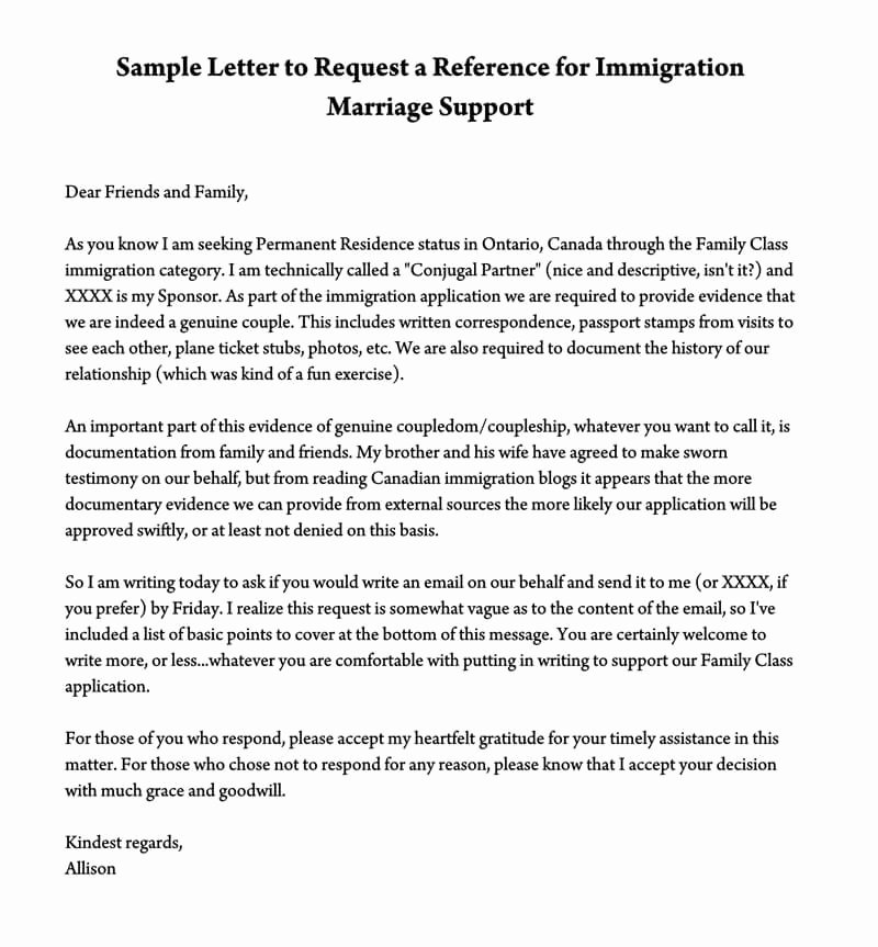 Support Letter Sample for Immigration Beautiful Reference Letter to Support Immigration Marriage Samples