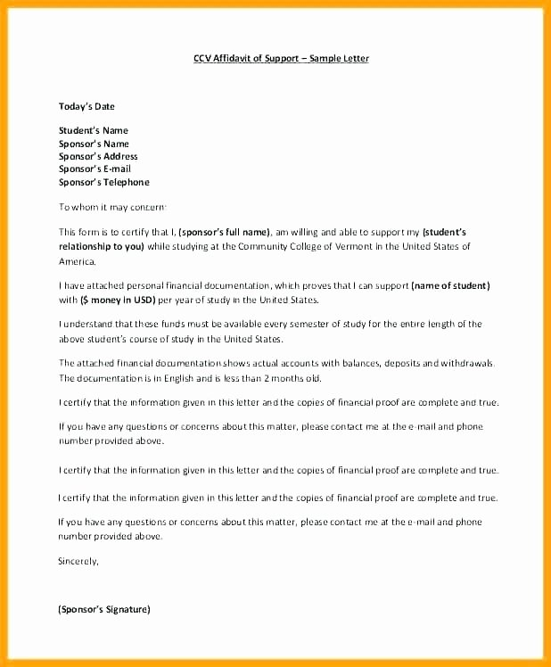 Support Letter Sample for Immigration Elegant Letter Financial Support Example