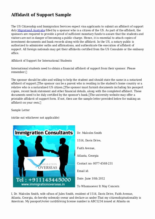 Support Letter Sample for Immigration Luxury Affidavit Of Support Sample