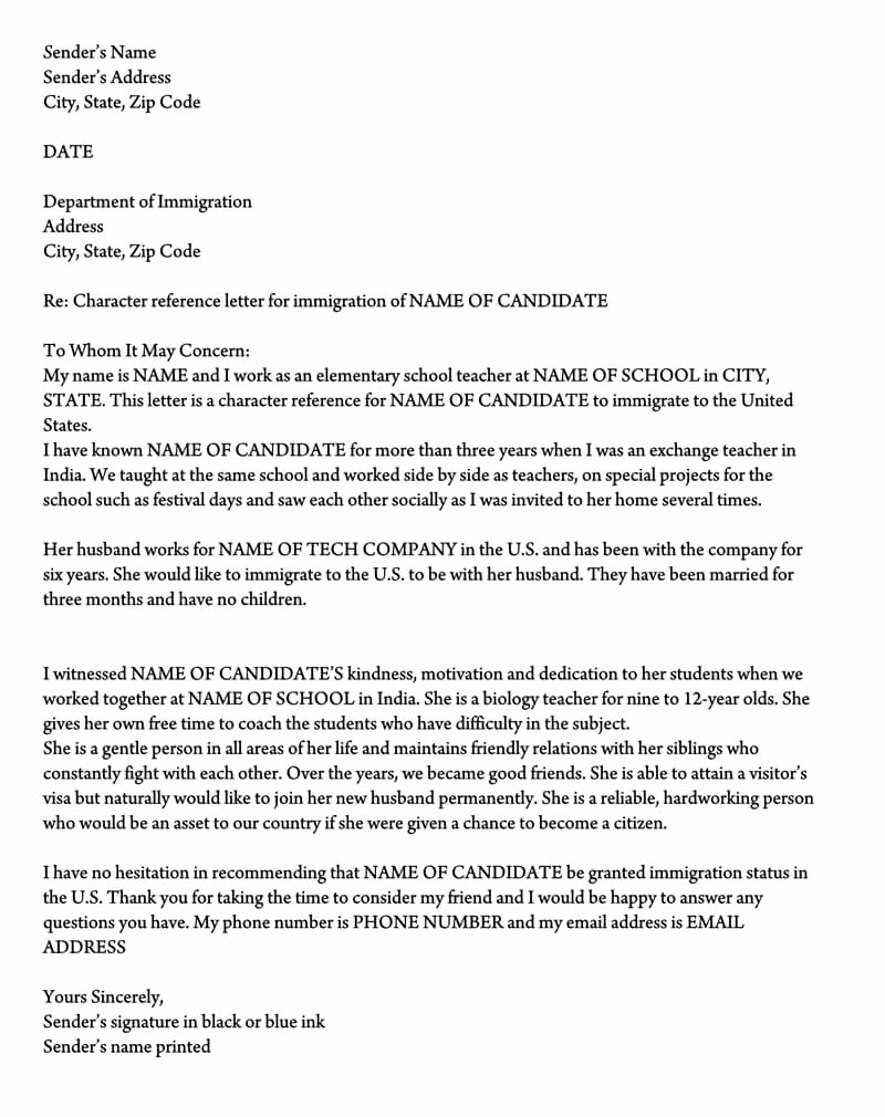 Support Letter Sample for Immigration Luxury Letter Of Support for Immigration 10 Sample Reference