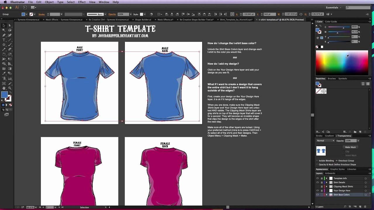 T Shirt Template Illustrator Beautiful Illustrator T Shirt Template Tutorial