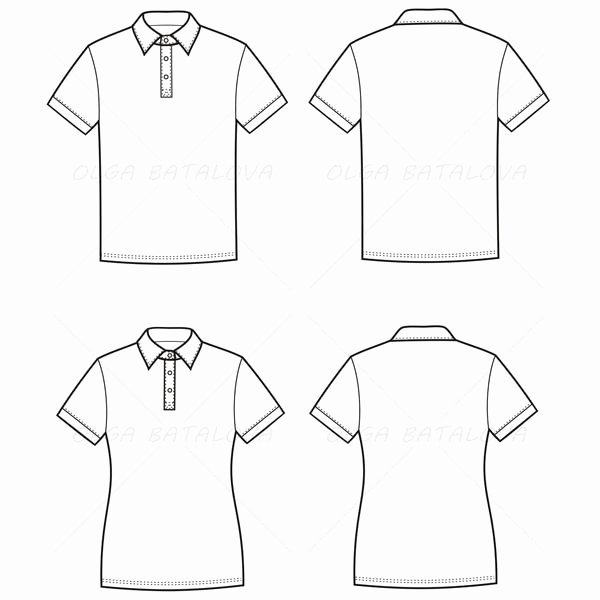 T Shirt Template Illustrator Elegant Women's and Men's Polo T Shirt Fashion Flat Templates