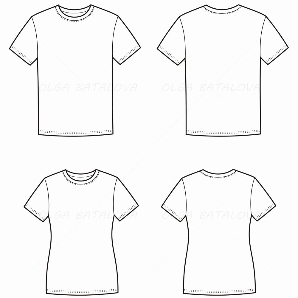 T Shirt Template Illustrator Inspirational Women S and Men S T Shirt Fashion Flat Templates