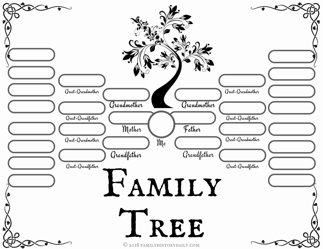 Template for Family Tree Beautiful 4 Free Family Tree Templates for Genealogy Craft or