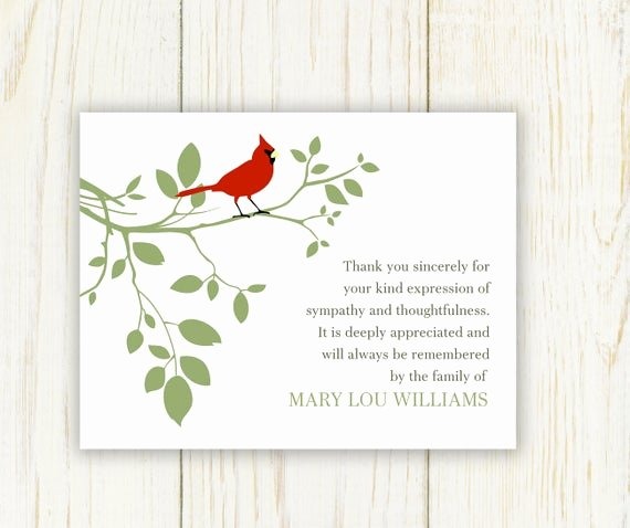Thank You Card for Money Awesome Red Bird Funeral Thank You Card Digital Sympathy Card