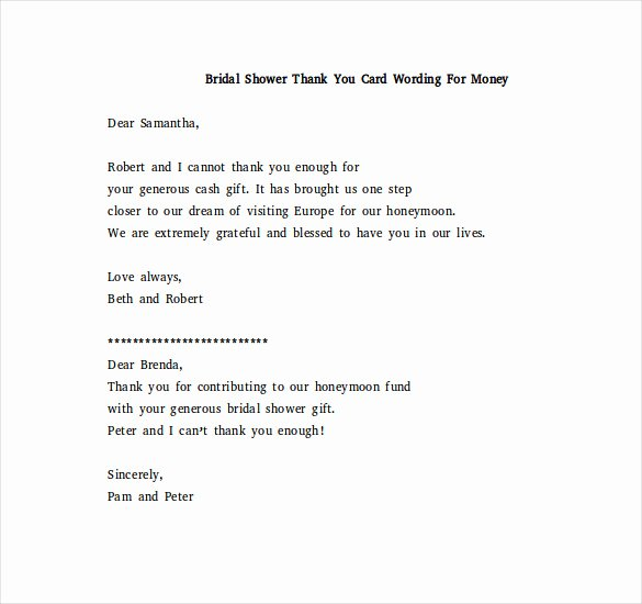 Thank You Card for Money Beautiful Bridal Shower Thank You Note – 6 Free Word Excel Pdf