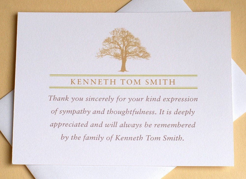 Thank You Card for Money Lovely Funeral Thank You Notes with A Strong Tree Personalized
