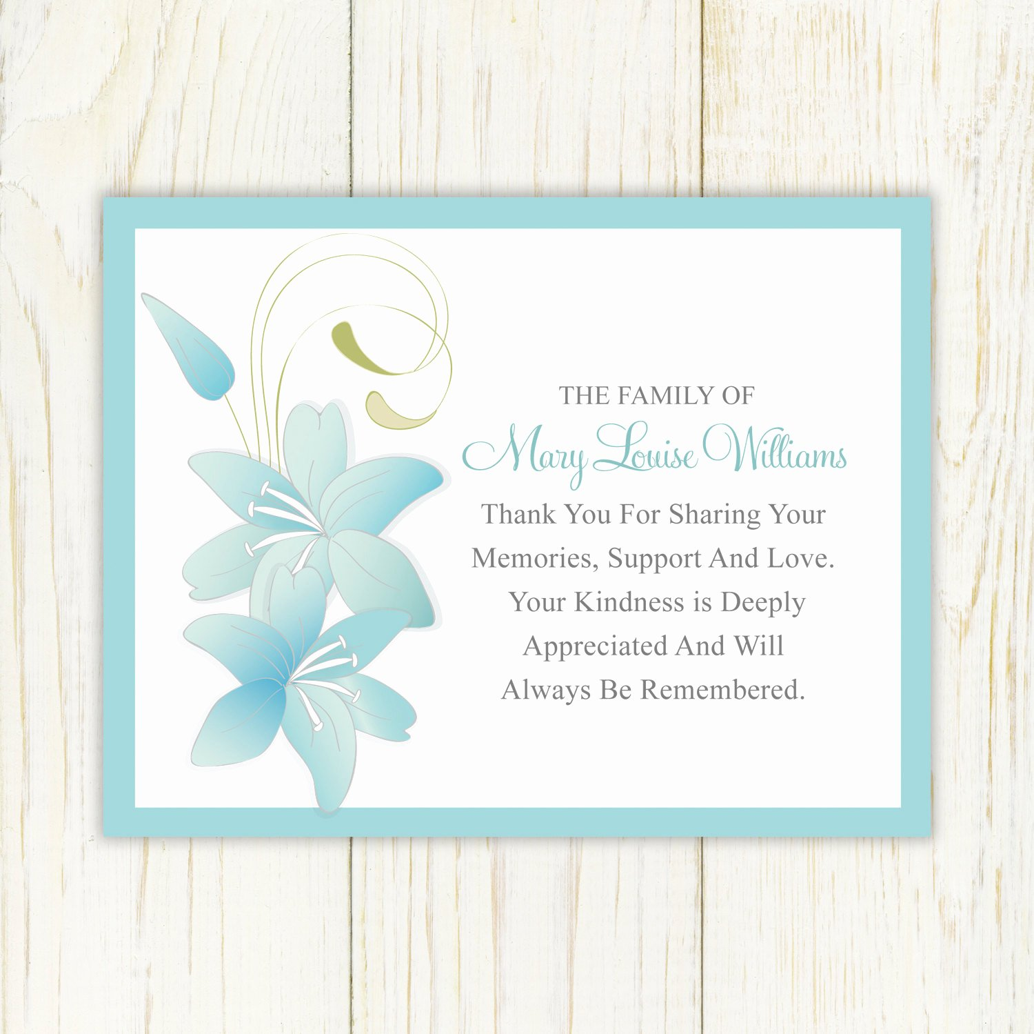 Thank You Card for Money Lovely Sympathy Thank You Card Printable by Eloycedesigns On Etsy