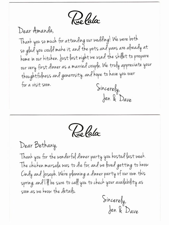 Thank You Note Sample Best Of Wedding Thank You Note Template 2018
