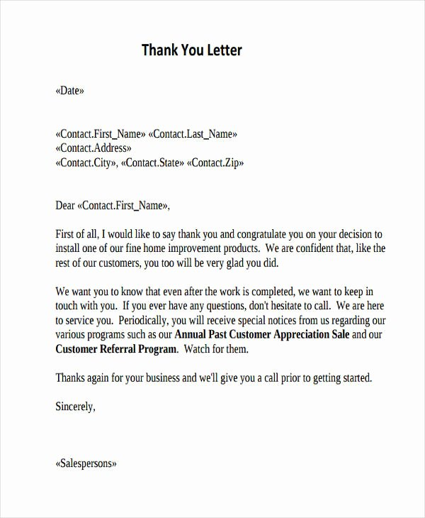 Thank You Note Sample Lovely Free 74 Thank You Letter Examples In Doc Pdf