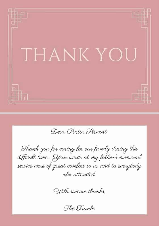 Thank You Note Sample Luxury Sample Wording for A Funeral Thank You Note for A Pastor