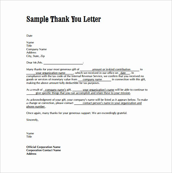 Thank You Note Sample New Free 9 Sample Thank You Letters for Gifts In Doc