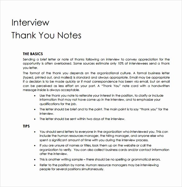Thank You Note Sample New Sample Professional Thank You Notes 7 Documents In Pdf