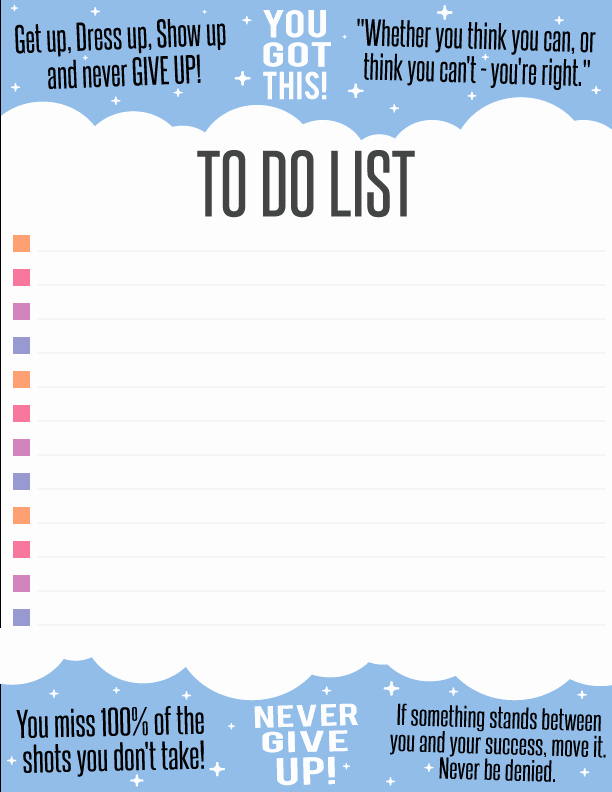 To Do List Pdf Lovely Free Inspiring to Do List Printable Pdf Graphic – Unicorn