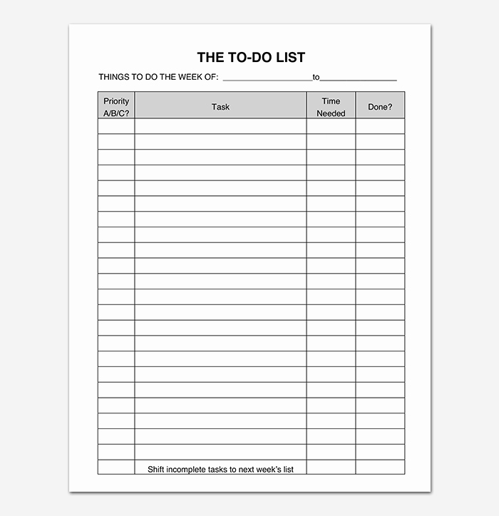 To Do List Templates New Things to Do List Template 20 Printable Checklists