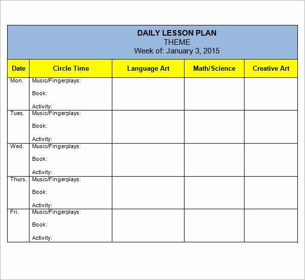 Toddler Lesson Plan Template Elegant Free 10 Sample Preschool Lesson Plan Templates In Google