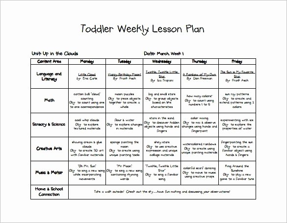 Toddler Lesson Plan Template Lovely Early Childhood Lesson Plan Example