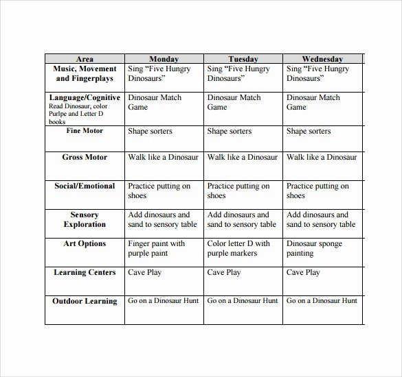 Toddler Lesson Plan Template Luxury Sample toddler Lesson Plan 9 Example format
