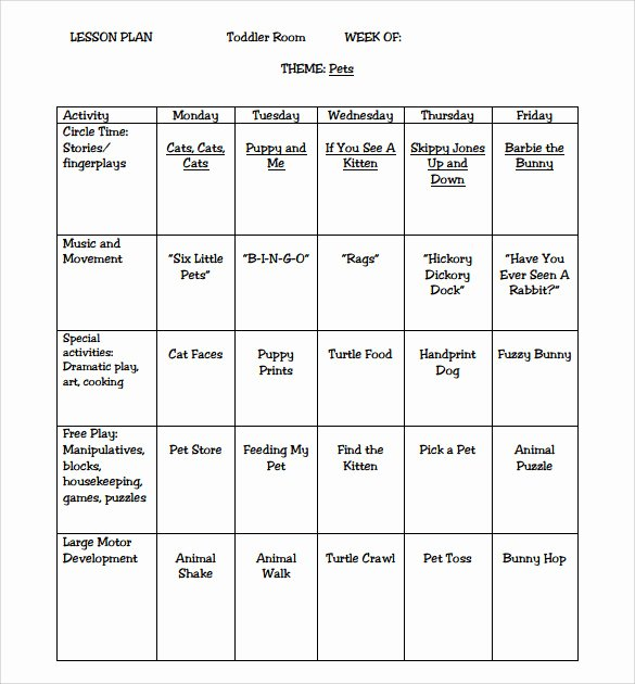 Toddler Lesson Plan Template New Sample toddler Lesson Plan 9 Example format