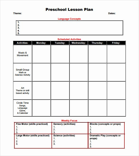 Toddler Lesson Plan Template Unique Sample Preschool Lesson Plan 10 Pdf Word formats