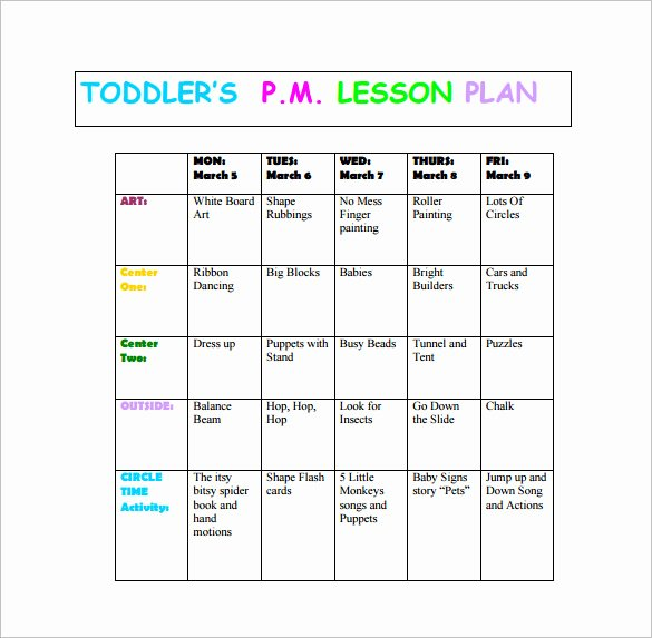 Toddler Lesson Plan Template Unique toddler Lesson Plan Template 9 Free Pdf Word format