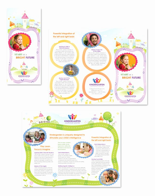 Tri Fold Brochure Size Elegant Kindergarten Tri Fold Brochure Template