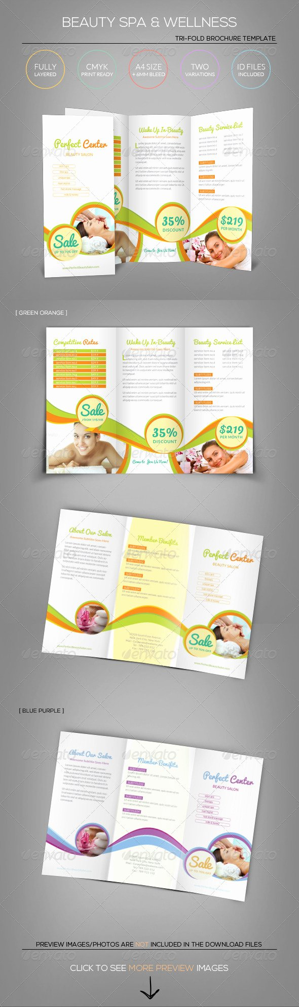 Tri Fold Brochure Size Fresh Beauty Spa & Wellness Tri Fold Brochure Template
