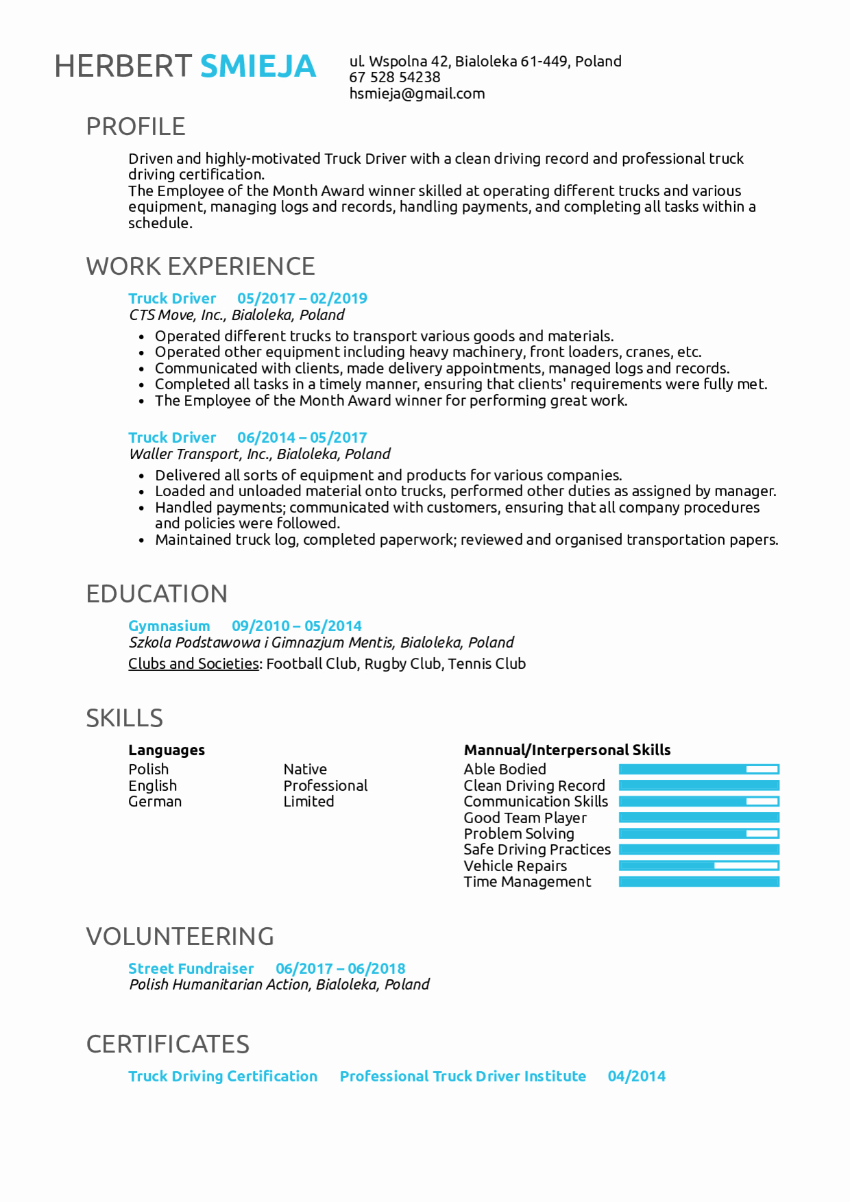 Truck Driver Resume Sample Awesome Resume Examples by Real People Truck Driver Resume
