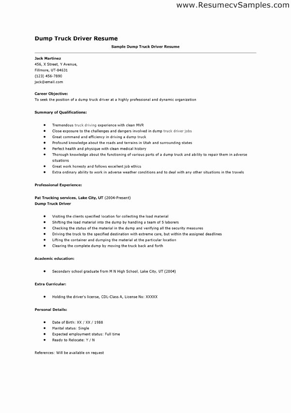 Truck Driver Resume Sample Awesome Resume Samples Dump Truck Driver Resume