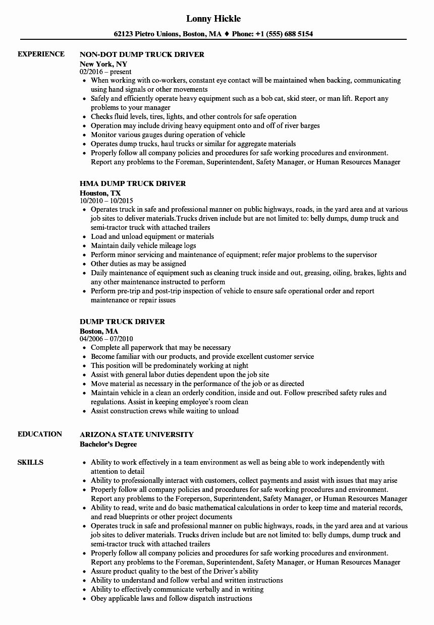 Truck Driver Resume Sample Beautiful Dump Truck Driver Duties
