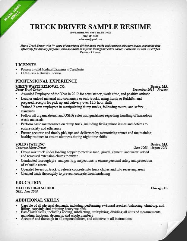 Truck Driver Resume Sample Beautiful Truck Driver Resume Sample and Tips
