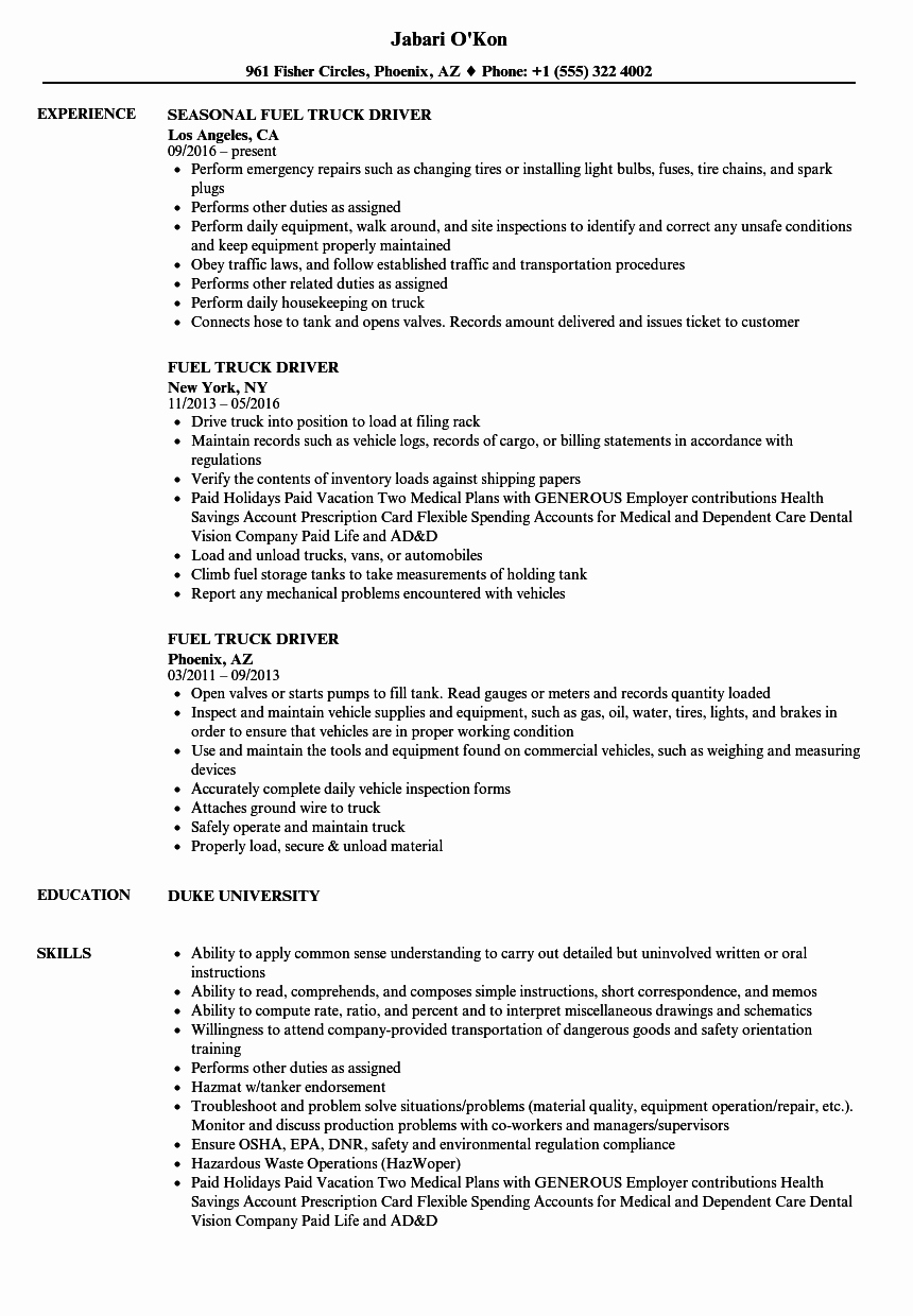 Truck Driver Resume Sample Elegant Fuel Truck Driver Resume Samples