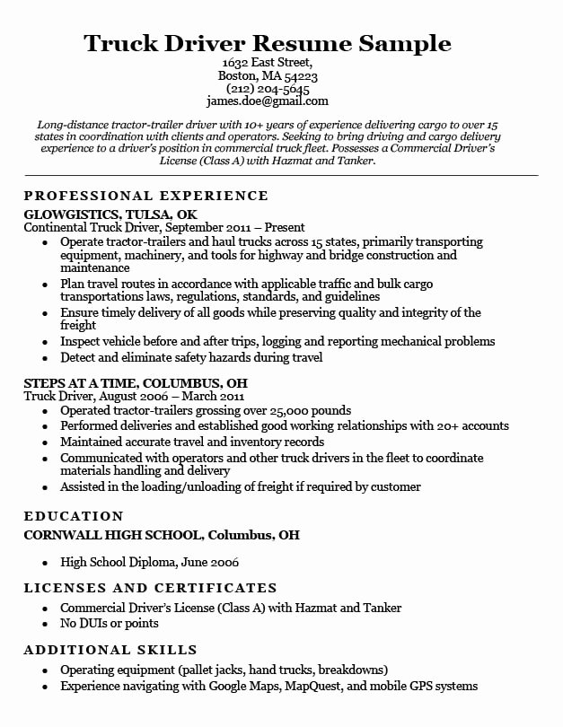 Truck Driver Resume Sample Elegant Truck Driver Resume Sample